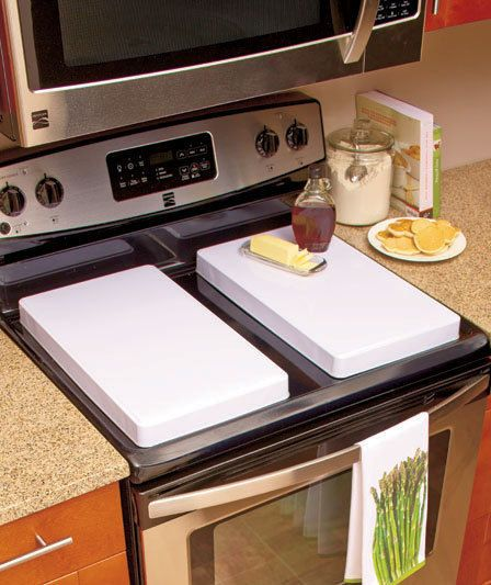 Kitchen Bar With Stove: WHITE GAS STOVE BURNER COVER SET OF 2 RECTANGULAR EXTRA