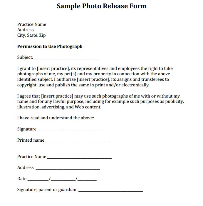 Sample photo release form courtesy of dr eric garcia and for Photography waiver and release form template