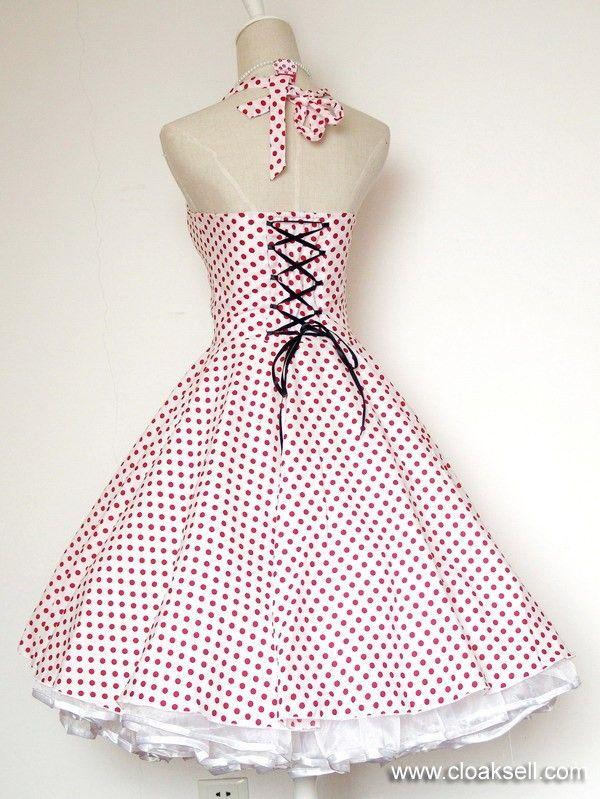 50s 60s Rockabilly Dress Vintage Polka Dots Swing Jive Dress FDW0028W - 50's Rockabilly Dress