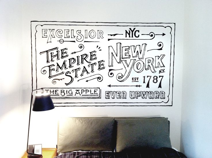 Hand drawn mural for Ace Hotel by Dan Cassaro #DanCassaro #AceHotel #NewYork #youngjerks.com: Cassaro, Dancassaro, Young Jerks, Acehotel, New York, Typography, Ace Hotel, Hotels