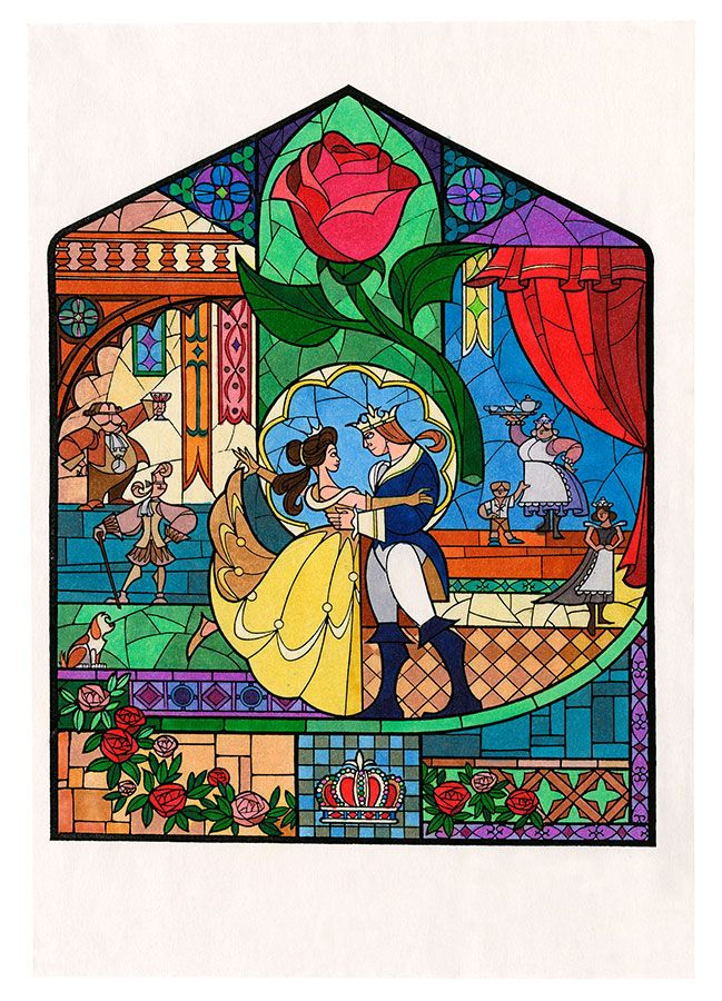 16 Pieces of Enchanting Concept Art from Beauty and the Beast. Stained glass. Disney. Belle, Adam, princess, prince