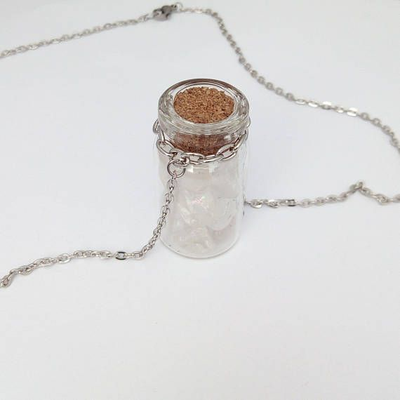 Clear Quartz Necklace Bottle of Crystals Charm Quartz