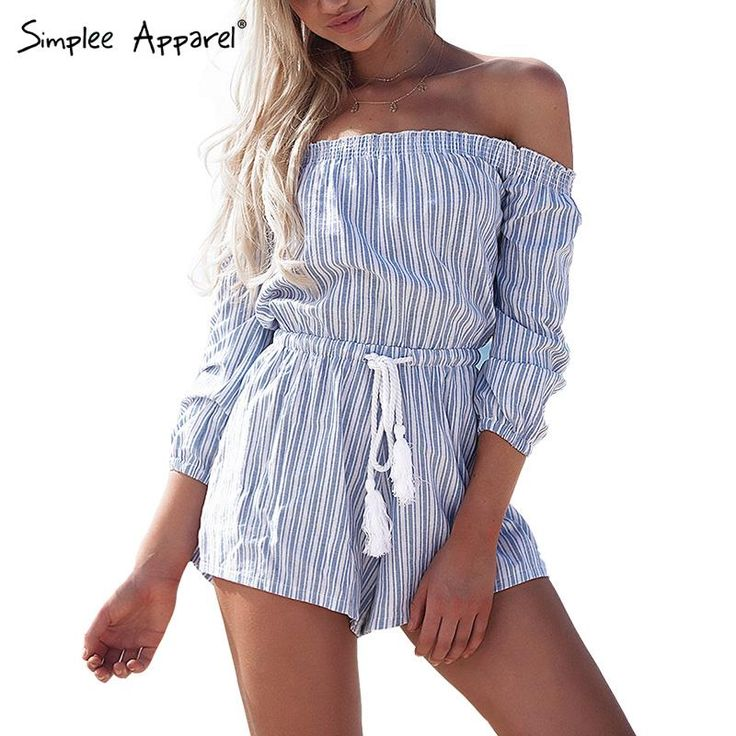 Cheap apparel from, Buy Quality apparel dress directly from China apparel canvas Suppliers:          Simplee Apparel Sexy off shoulder blue striped women jumpsuit romper Summer beach short playsuit Casual macacao