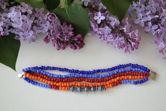 Native american colourful beaded bracelet. by DeaJewelryStore