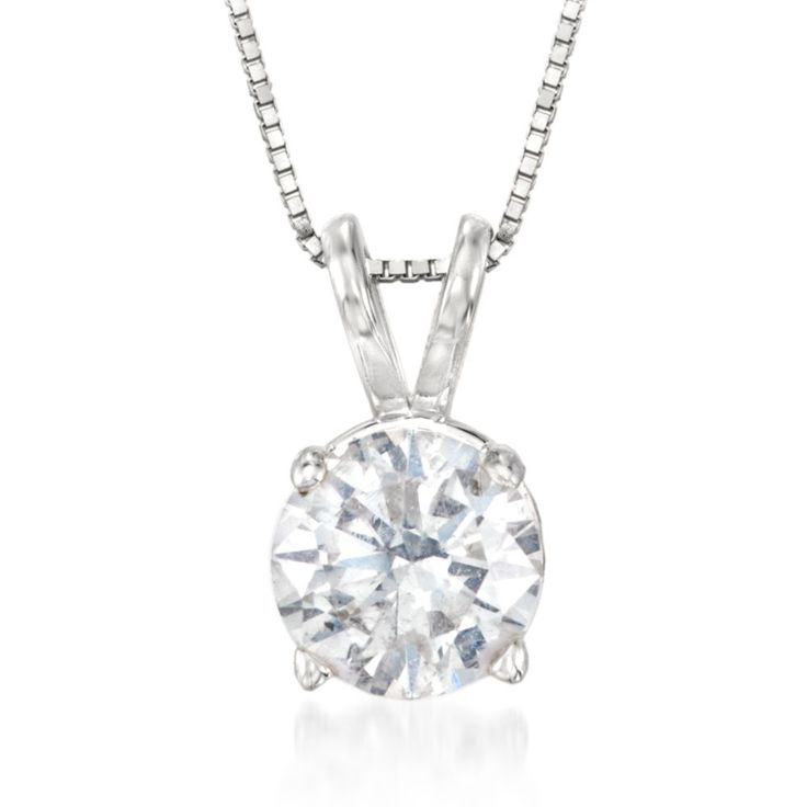 This stunning 1.00 carat round brilliant-cut diamond solitaire necklace is truly captivating. Features split bale which suspends from 14kt white gold box chain with springring clasp. Diamond solitaire necklace. Free shipping & easy 30-day returns. Fabulous jewelry. Great prices. Since 1952.