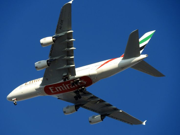 This Airbus A380 airplane from Emirates goes to Dubai International airport. For more information about this airport or Al Maktoum International airport go to: https://www.meetthecities.com/guide/dubai/dubai-travel-airport/