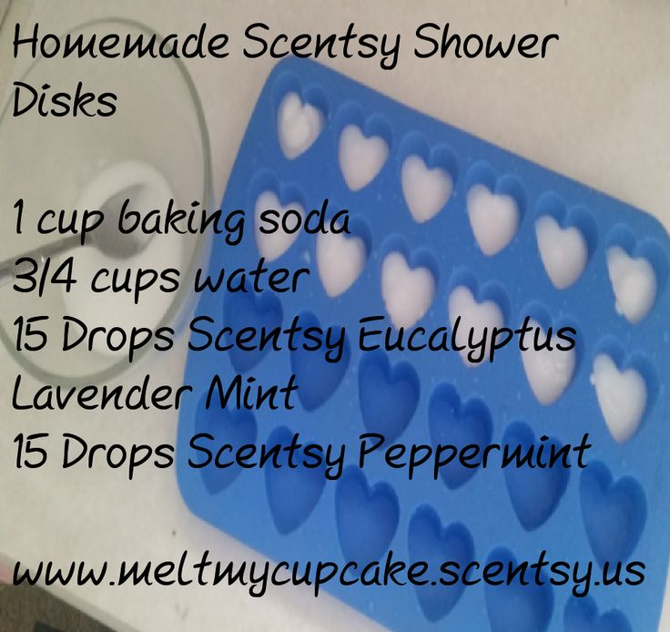I've been playing around with our Scentsy oils and came up with diy Scentsy Shower disks. Using 1 cup of baking soda and 1/3 cup of water make a paste. Add 15 drops of Eucalyptus Lavender Mint and 15 drops of Peppermint. Bake at 300 for 15 minutes in a silicone mold. Pop out and drop one in the shower. Breathe and enjoy! #Scentsy #scentsyconsultant #diy #cold remedies #essentialoils