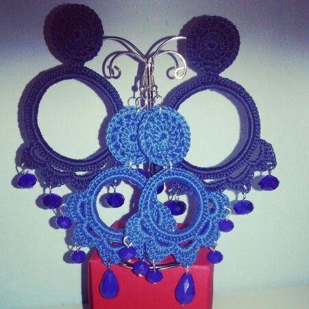 Orecchini Uncinetto handmade blu e blu elettrico ♡ ColoritaSplendideCreazioni