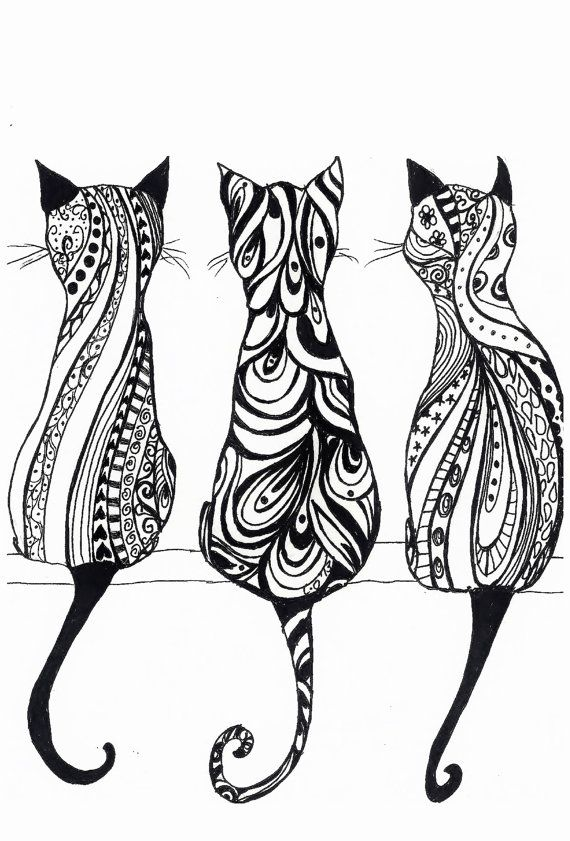 Three Cats A4 Monochrome print of original drawing por LittleRedHat