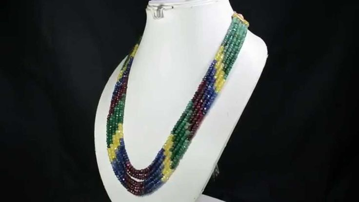 5 Strands Natural Ruby Emerald Sapphire 396ct Multi Row Gemstone Beads N...