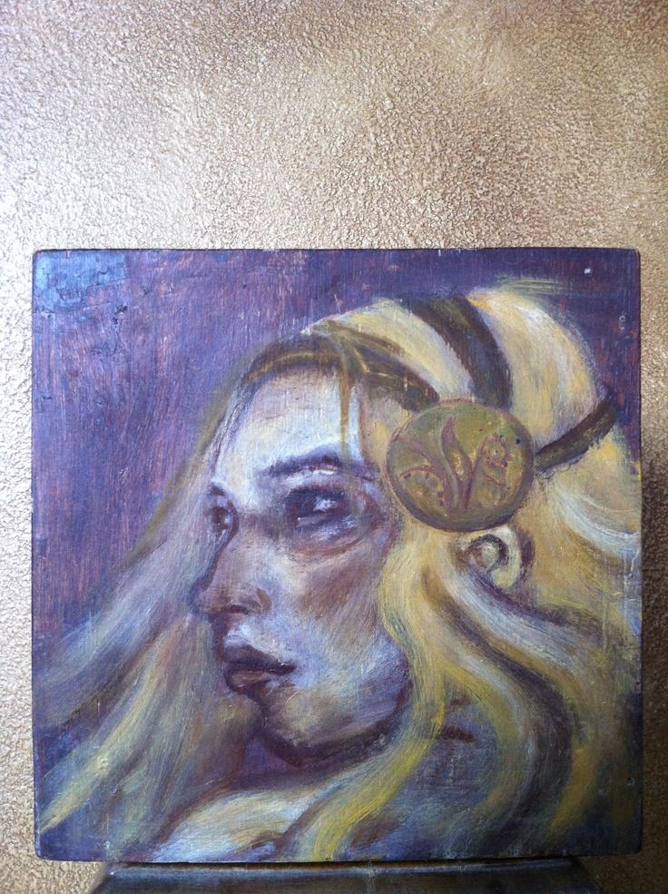 'Isabella' oil & wax on wood      Maeve Fianna Callahan.  - available - 80.