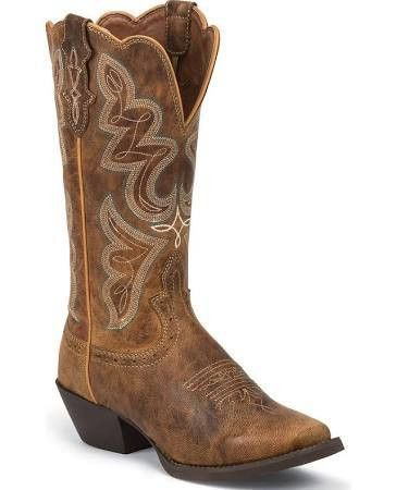 Justin Stampede Women's Light Coffee Boots [L2716]