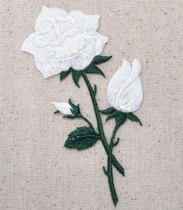 "White Rose Flower Iron on Applique High quality, detailed embroidery applique. Can be sewn or ironed on. Great for hats, bags, clothing, and more! Size is approx. 2-1/4"" x 4-3/4"" or 5.7cm x 12.06"
