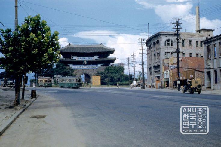 Namdaemun Gate 1950s with Syngman Rhee presidential elections poster