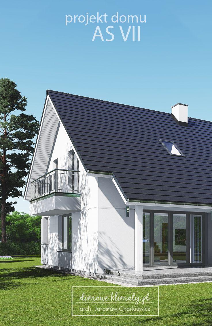 """Projekt nowoczesnego i energooszczędnego domu jednorodzinnego """"As VII"""" z poddaszem użytkowym, garażem jednostanowiskowym i dachem dwuspadowym, w którym pomyślano o optymalnym wykorzystaniu każdego skrawka przestrzeni. Z zewnątrz bryłę domu cechuje prostota podkreślona użyciem nowoczesnych detali - dużych, narożnych okien i barwnych płaszczyzn."""
