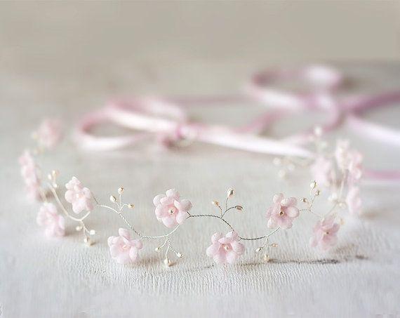 Бежевый веночек Свадебное украшение Свадебная прическа от ArsiArt