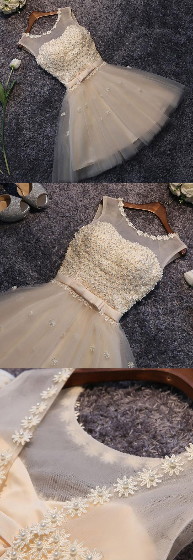 Outlet Sleeveless Dresses Short Champagne Homecoming Prom Dresses With Beaded/Beading Lace Up Mini Fancy Party Dresses