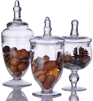 These covered set of 3 jars showcase your favorite candies or cookies while keeping the contents fresh. You can choose to display flowers, biscuits, shells or any ornament for the Holiday Season. 3 Apothecary Jars for $39.99