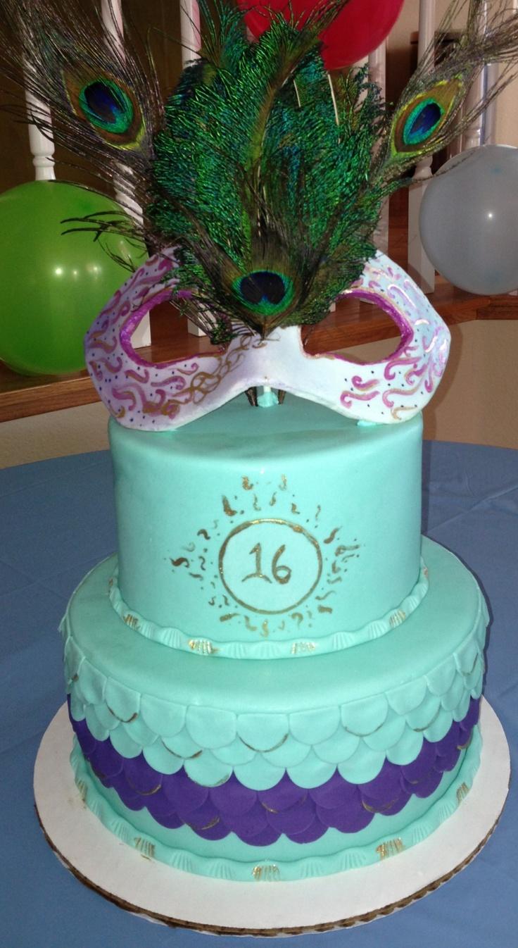 Sweet 16 Masquerade Cake Turquoise And Purple Http Www