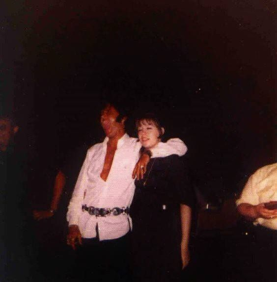 """Elvis and Donna Lewis at Graceland in circa May-June 1969. Elvis is doing a really good Tarzan yell. :-) She and her family were among the few non-relatives allowed to attend his new year's eve parties and all the movie nights when he was in town. Donna carefully noted in her diaries every film they saw, and Elvis's comments on them. She wrote three books (""""Hurry Home Elvis"""") based on her diaries. Volume I deals with 1962-1966, Volume II with 1967-1968 and Volume III is about 1969-1977."""