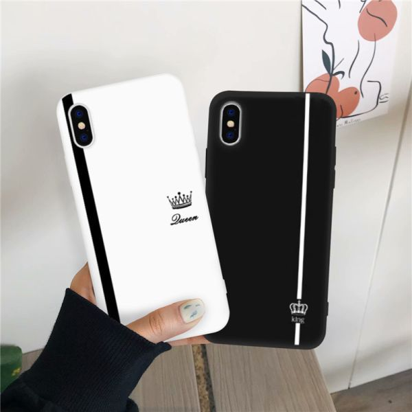 Us 0 98 21 Off Jamular King Queen Lovers Couple Case For Iphone X Xs Max X Xr 11 Pro 12 Se20 7 8 6plus Black White Silicon Soft Phone Cover Bag Phone Case