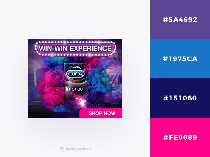 40 Eye Catching Color Combinations In Display Ads Display Ads Durex Banner Design Inspiration