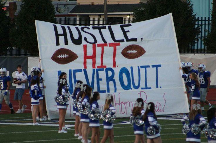 Run through sign, run through signs, cheer run through, football signs, football run through, hustle hit never quit