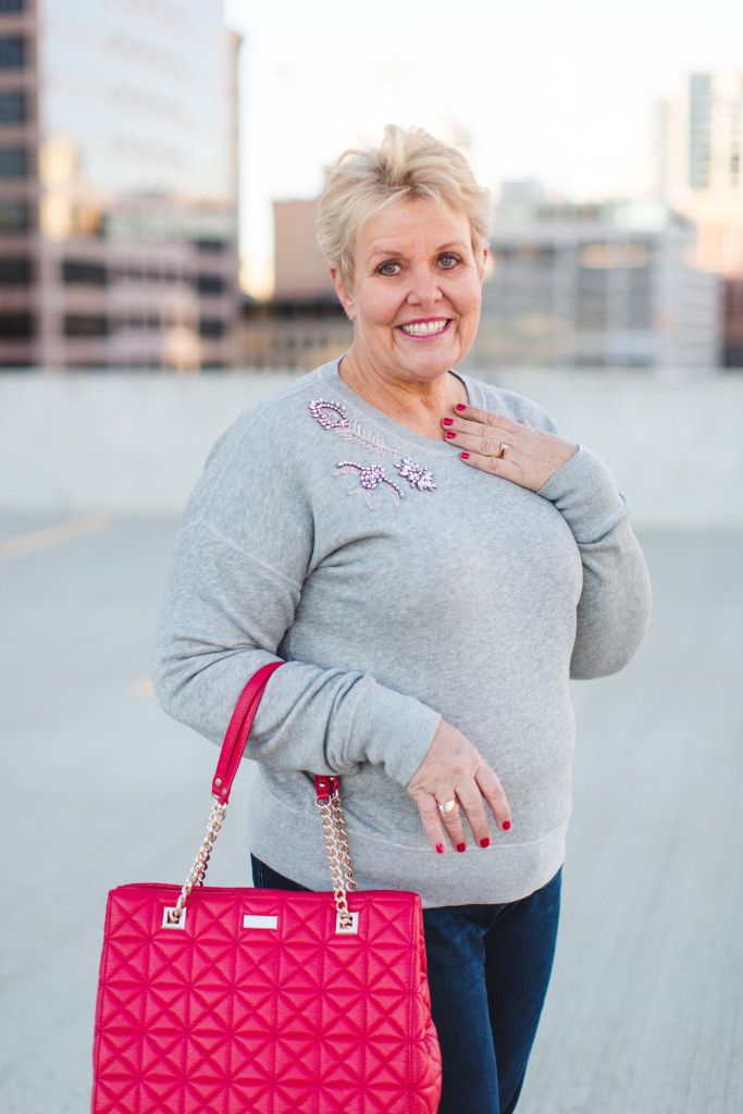 a little bit of bling...jeweled sweatshirt / J Crew / J Crew end of season sale / fashion over 50/ plus size / plus size fashion / ps style / plus size clothing / Cindy in the City | a fashion lifestyles blog for the mature woman