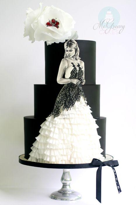 Fleur ruffle peacock dress Harry Potter wedding cake