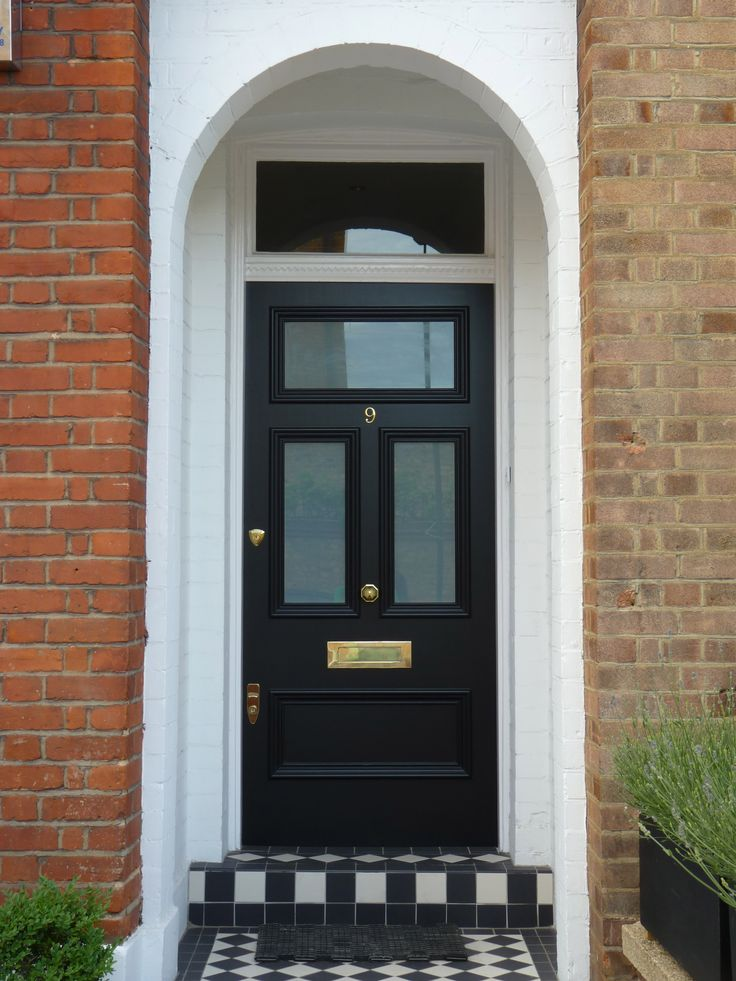 Another London Door Company Door in black with black and white tiling. #monchrome : doors companies - pezcame.com