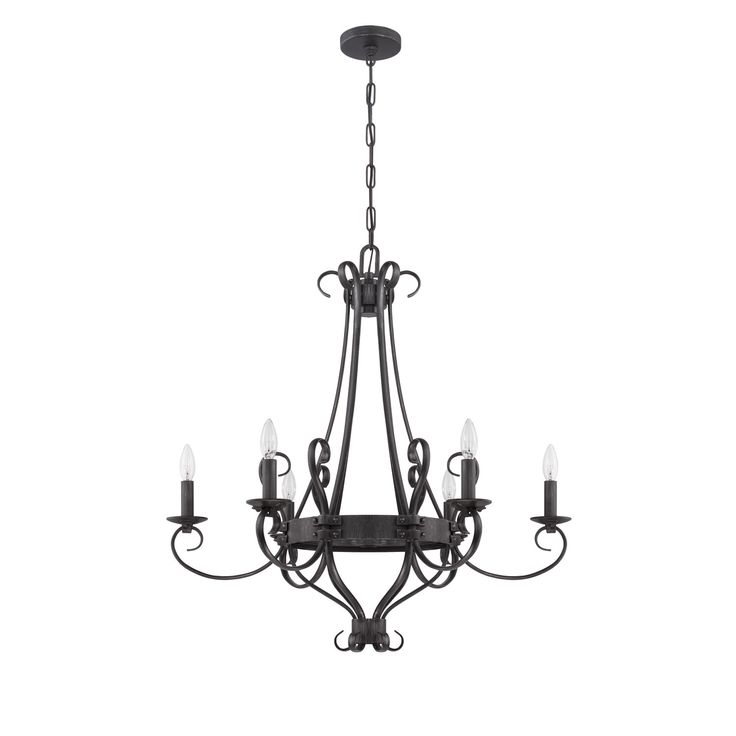 Jeremiah By Craftmade Ellsworth Charcoal Six Light Chandelier On SALE