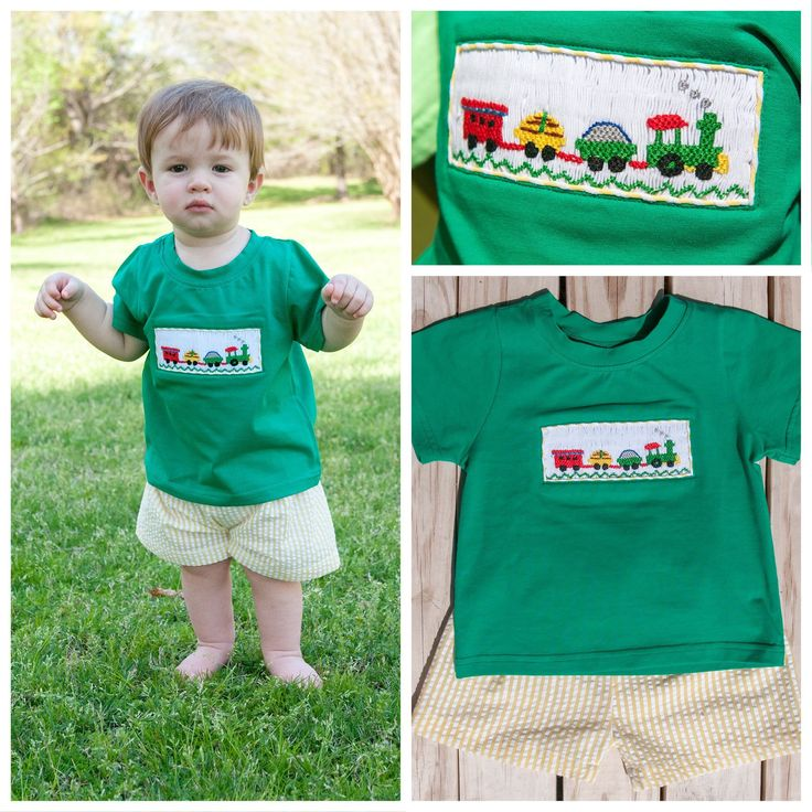 Green Smocked Trains Shirt and Yellow Seersucker Shorts Set