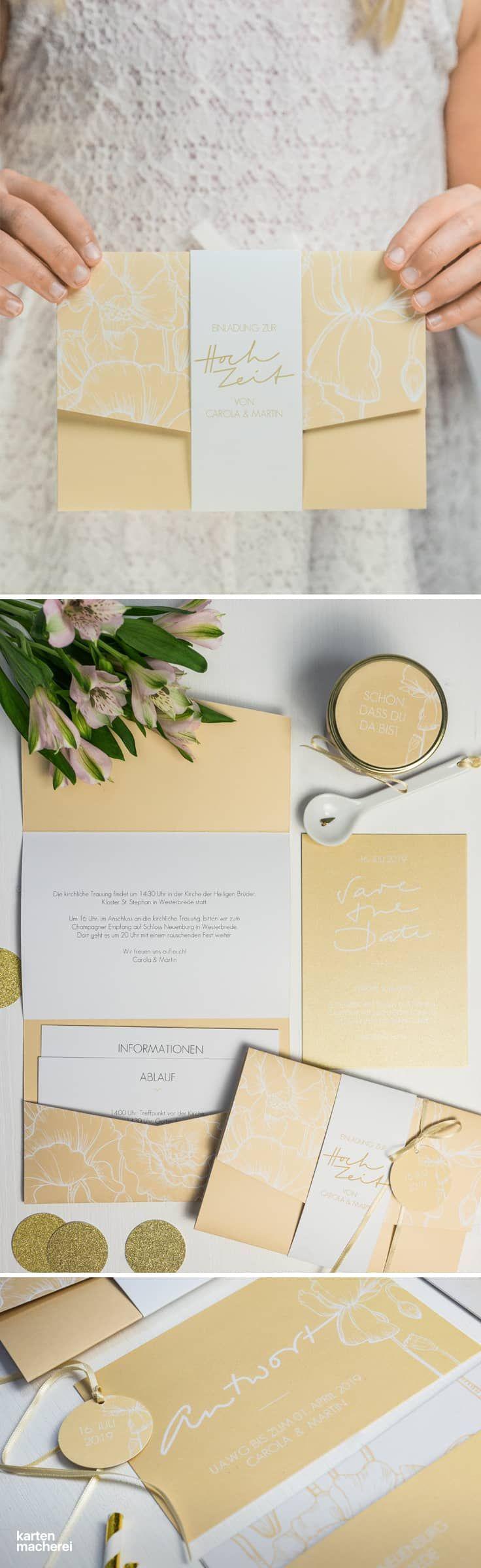 Eine Idee zur Hochzeitseinladung: Das Pocketfold-Format im schönen Nude-Look. Das Besondere am Pocketfold: Das Öffnen der Einladung wird für eure Gäste zum Erlebnis: Eine Banderole umgibt die Einladungskarte, beim Öffnen werden alle Informationen auf einen Blick sichtbar.