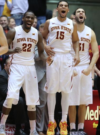 Iowa State players Dustin Hogue, 22, Naz Long, 15, and Georges Niang, 31, celebrate after teammate Georgios Tsalmpouris made a shot during an NCAA college basketball game between Iowa State and Texas Tech on Saturday, Feb. 7. 2015, in Ames, Iowa. (Photo: , Charlie Litchfield/The Register)