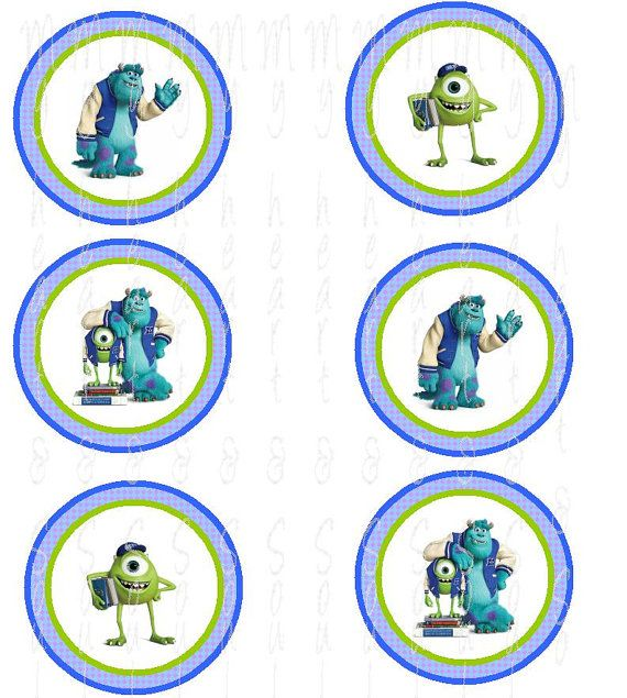 Monster University isnpired cupcake toppers INSTANT DOWNLOAD, Monsters inc decorations, Monsters inc Birthday, Monsters University, Monster