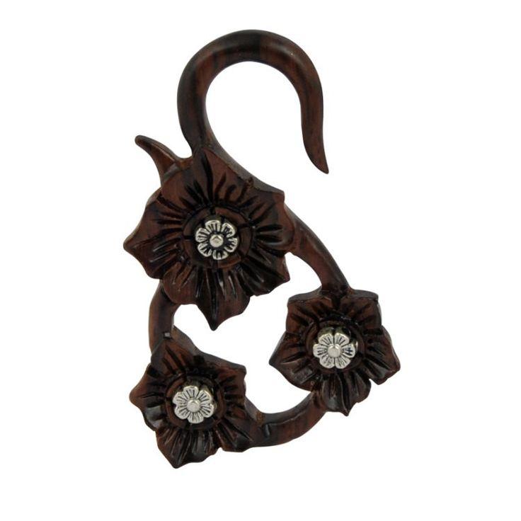 Espansione lobo orecchio pendente in legno narra, artigianale lavorata a mano con intarsi in metallo. Vari diametri disponibili di Micromutazioni su Etsy