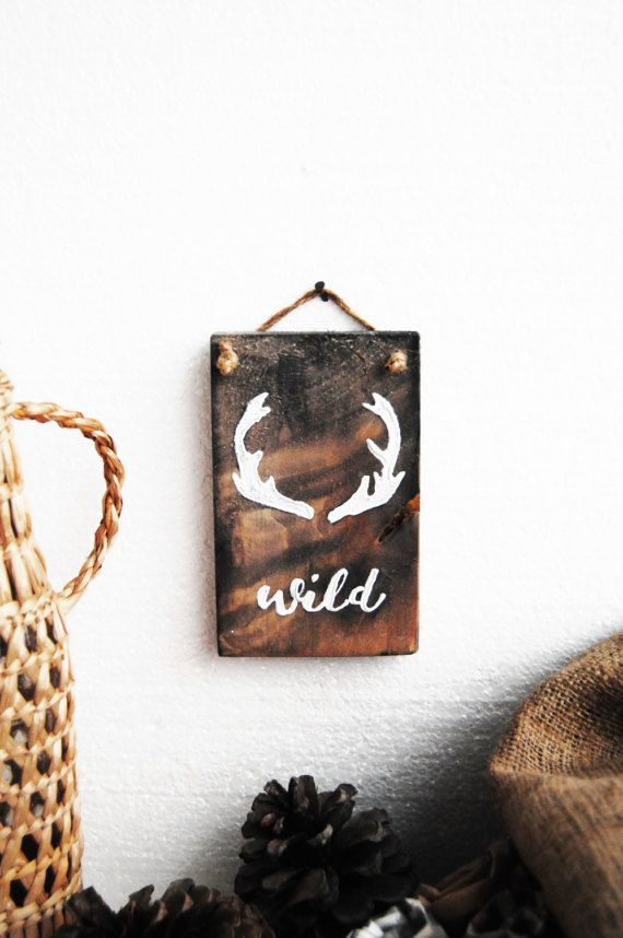 WILD wall decor, Rustic wall decor, Wooden wall decor, Antlers decor,Animal trophy, wood decoration, Barn wood art, Reclaimed wood, Old wood