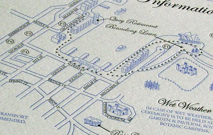 2 colour Letterpress Wedding Map - printed by Watermarx Graphics - www.watermarx.net