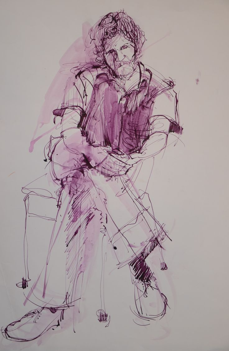 Llew Bryan sitting after the model never pitched. Speedball pen, purple ink on A2 Cartridge. 1974.