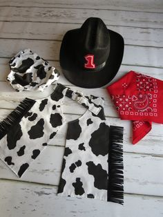Baby Boy / Toddler Party Set in Cow Hide Diaper Cover Chaps Red Bandana and Cowboy Hat Cake Smash outfit