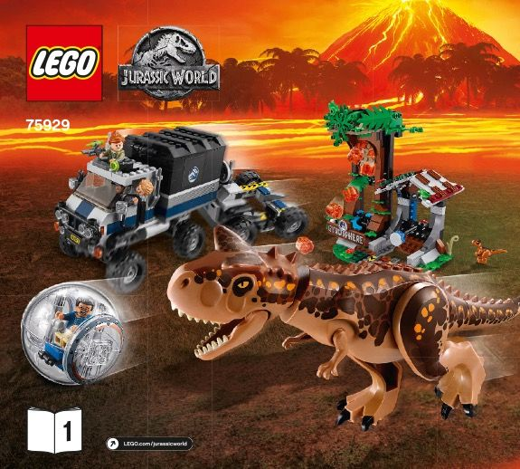75929 One size Carnotaurus Gyrosphere Escape/' Set Lego Kids /'Jurassic World