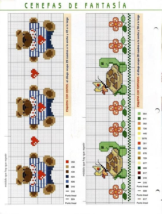 bordure orsi tartarughe baby punto croce