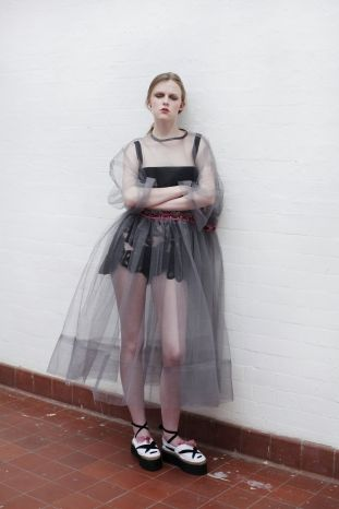 molly goddard, model with her clothing. Britiish Clothes Designer