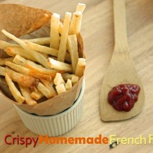 Super Crispy Homemade French Fries - Soak in ice water for 20 minutes then dry before baking to make fries extra crispy!