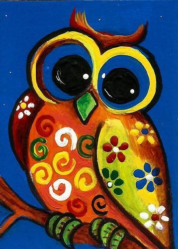 "2013 ORIGINAL ACEO PAINTING ""WHO ME? ""WHIMSICAL OWL"" - ART BY AniTa"