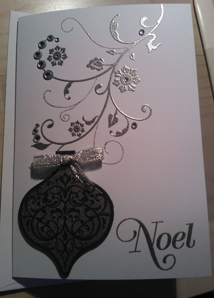 Noel card using SU stamps; Greetings of the Season, Ornament Keepsakes and Flowering Flourishes.