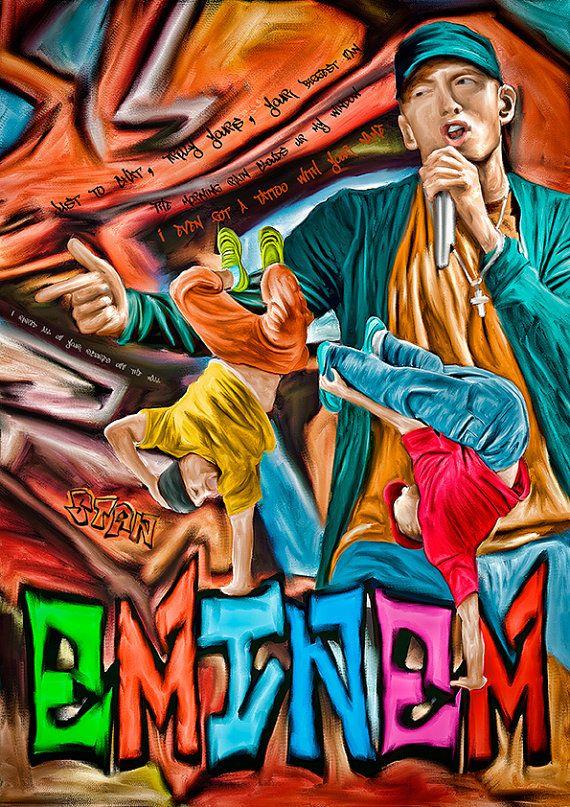 Print Eminem music paint poster portrait  Birthday Gift art STAN rap poster Eminem illustration print canvas giclee