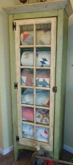 Rustic blanket cupboard with glass pane door #PrimitiveBedroom