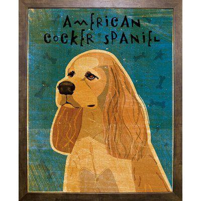 "East Urban Home 'American Cocker Spaniel - Buff' Graphic Art Print Format: Cafe Mocha Framed Paper, Size: 20"" H x 16"" W x 2"" D"