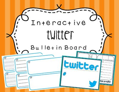 Interactive Twitter Bulletin Board from Hello Little Miss Teacher on TeachersNotebook.com -  (8 pages)  - This document includes everything you need for creating a twitter interactive bulletin board.